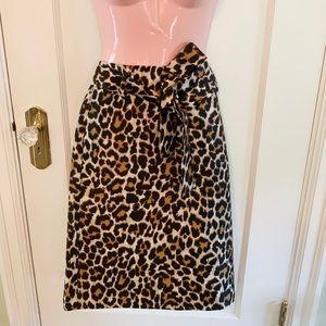 J. Crew Skirts - Tie Waist Midi Skirt in Leopard Print
